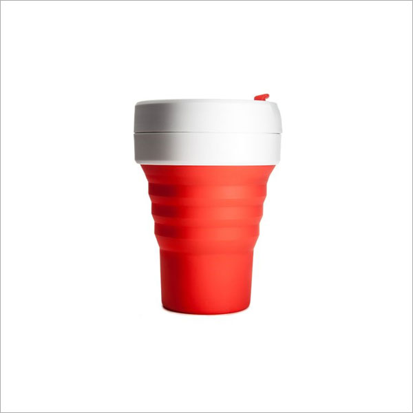 STOJO COLLAPSABLE POCKET CUP - 12OZ RED