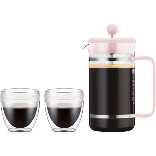 BODUM BISTRO SET Pavina Outdoor Piston Coffee Maker - 8 Cups - 1 L + 2 Cups 0.25 L - Pastel Pink