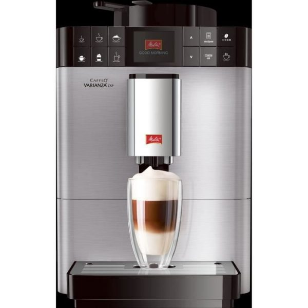 ABSAAR F58 / 0-100 - Automatic coffee machine with cappuccino steam nozzle -15 bar-10 different drinks-HD display-Stainless steel